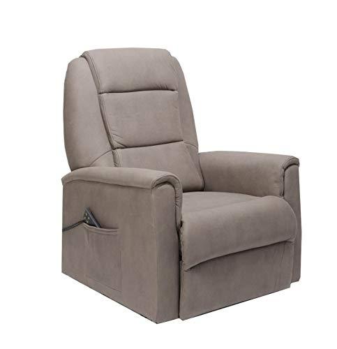 Sime - Sessel mit Aufstehhilfe Extra Large, 2 Motoren. Bezug aus Elefantenhaut-Mikrofaser DavidXL-3M-ELDOV Taubengrau Stoff mit Ledereffekt