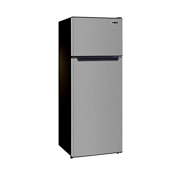 RCA RFR725 2 Door Apartment Size Refrigerator with Freezer, 7.2 cu. ft, Platinum, Stainless