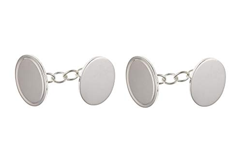 Sterling Silver plaine Chained ovale Boutons de manchette