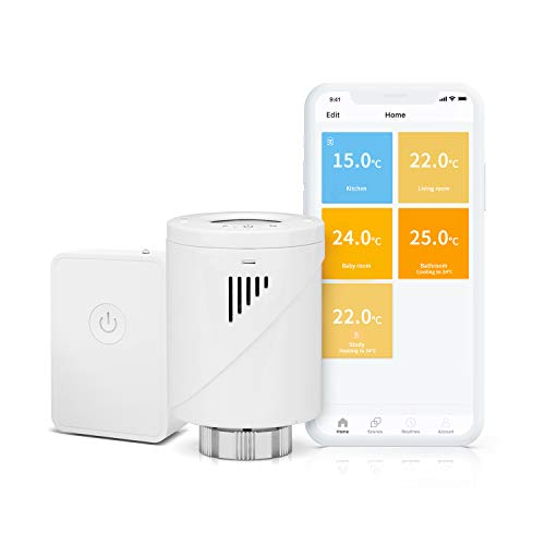 Valvola Termostatica Intelligente Wifi Display LCD, Hub Compreso, Programmabile tramite APP Controllo Remoto Compatibile con Amazon Alexa, Google Assistant e IFTTT, MTS100H, Meross