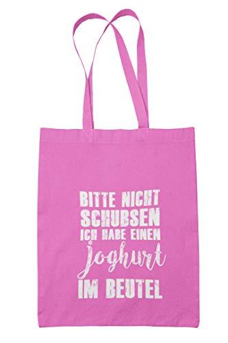 True Statements Baumwoll-Tasche Bitte Nicht schubsen - ich Habe einen Joghurt im Beutel - Einkaufstasche 38x42cm (pink)