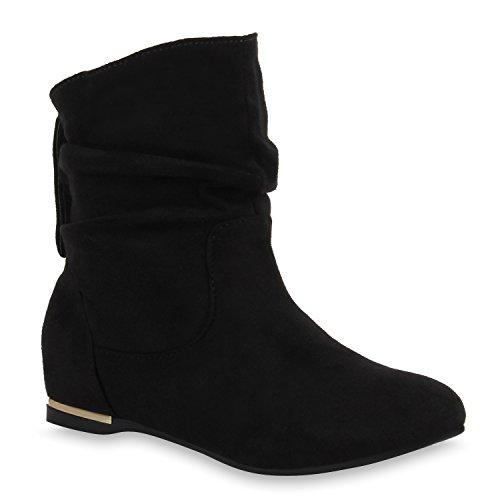 Flache Damen Stiefeletten Wildleder-Optik Boots Schlupfstiefel Trendy Schuhe 107291 Schwarz 37...