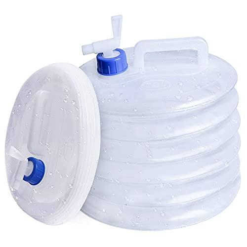 Portátil Plegable Agua Potable Depósit Bidón para Agua con Grifo 10L Contenedor de Agua Plegable Bidón de Agua Plegable de Plástico para Deportes,Campamento,Senderismo,Pícnic,Barbacoa(Transparente)