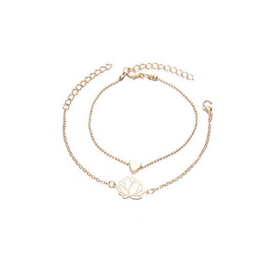 MAGIIE 2PCS Pulsera Mujer de 925 Plata,Mujer Brazalete Ajustable,Moda Original Joys Elegante,Estrella de la Suerte (Flor de Loto)
