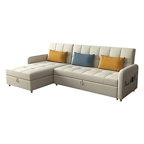 HMBB Sofá Cama Lateral Reversible con tajas de Almacenamiento, sofá de Esquina de Forma L con Cama extraíble, for Sala de Estar, llenado de látex (Beige) (Size : 214cm)