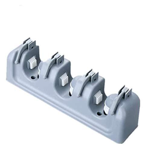 GUANGHEYUAN-J Mop Rack-PP Soporte de la Escoba de plástico Multifuncional Montado en la Pared Mop Rack 3 Slots 4 Ganchos Jardín, Herramientas de jardín Herramientas Organizador (Gris)