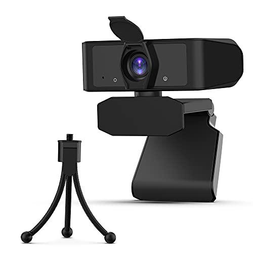 Cámara Web 2020 1080P con micrófono, Cubierta de privacidad y trípode, Uflatek USB...