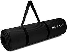 KG Physio Yogamatta – halkfri yogamatta med yogamattrem ingår – 183 cm x 60 cm x 1 cm tjock träningsmatta perfekt för...