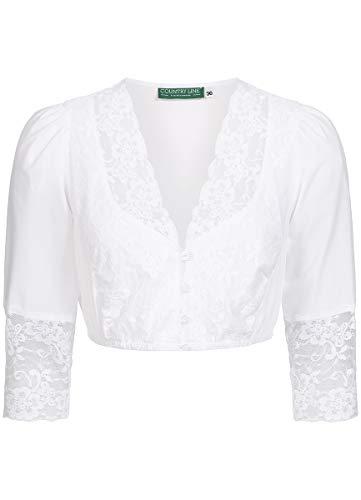 Country-Line Damen Trachten-Mode Dirndlbluse Alice in Weiß traditionell, Größe:32, Farbe:Weiß