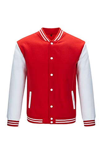 Trifuness Varsity Jacket Letterman Jacket Baseball Jacket With Long Sleeve Banded Collar Size XL