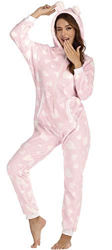 Orshoy Basic Jumpsuits Ganzkörperanzug Einteiler One Piece Schlafanzug Overall Damen Jumpsuit Kuschelig und warm Rosa & Herzen S