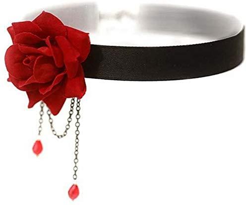 Women's Eleganter Retro-Rosen-Halsbein Necklace Black Choker Necklace Retro-Rosen-Halsbein, Kette, Schlüsselbein-Halskette 30 + 8 cm Adjustable
