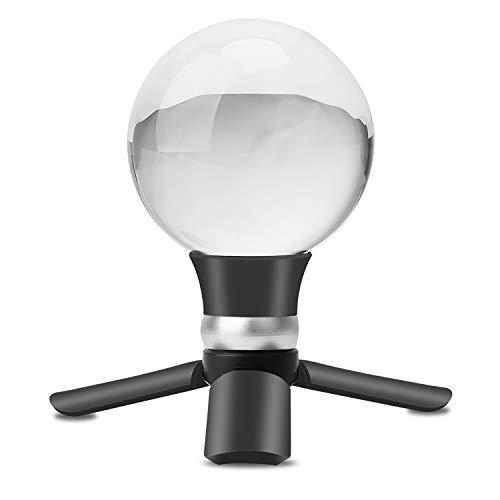 Lulonpon Kristallkugel Fotografie, 80 mm K9 klare Glaskugel mit Mini-Stativ und Saugnapf-Halterung, dekorative Glas-Requisiten, Kugel mit Tasche und Geschenk-Box 2.75in farblos