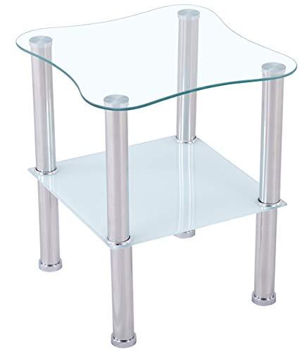 CasaXXl Couchtisch Glas mit Sicherheitsglas & Facettenschliff - Glastisch perfekt geeignet als Beistelltisch/Wohnzimmertisch 40x40x47cm (Abgerundet, Satiniert)