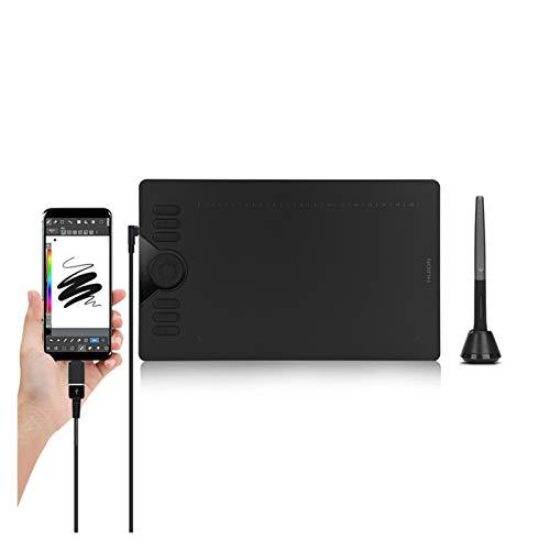 WLSJ Tableta de Dibujo Tableta de gráficos horizontales HS610 Tablero de Dibujo Digital, lápiz sin batería con Botones