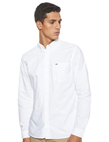 Tommy Jeans Herren TJM Classics Oxford Shirt Freizeithemd, Weiß (Classic White 100), Large (Herstellergröße:L)