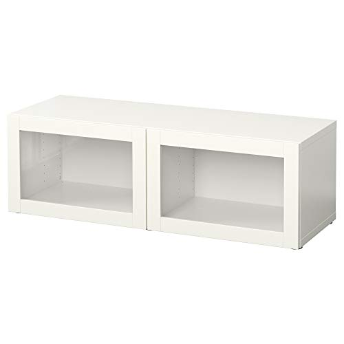 BESTÅ plankenkast met glazen deuren 120x40x38 cm Sindvik wit