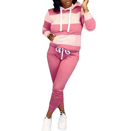 junkai Conjunto Chándal Capucha y Pantalones Jogging Mujer Otoño Rosa 2piezas Conjuntos Conjuntos Casual Sport Fitness Fitness Sweatsuit