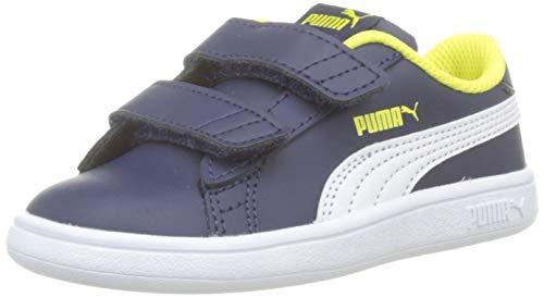 PUMA Smash v2 SD V PS, Sneaker Basse Mixte Enfant, Bleu (Peacoat White), 28 EU