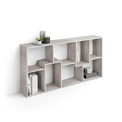 Mobili Fiver, Libreria Bassa XS Iacopo (160,8 x 80 cm), Cemento, Nobilitato, Made in Italy, Disponibile in Vari Colori