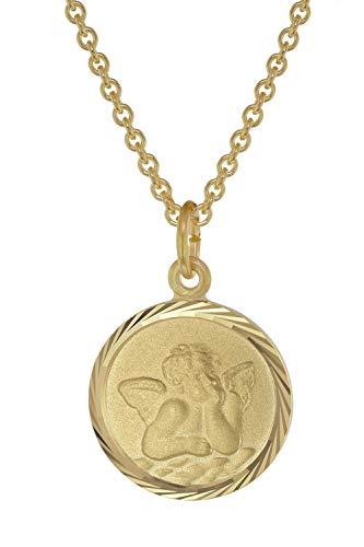trendor Kinder-Halskette mit Schutzengel Anhänger Gold auf Silber 39030-38 38 cm