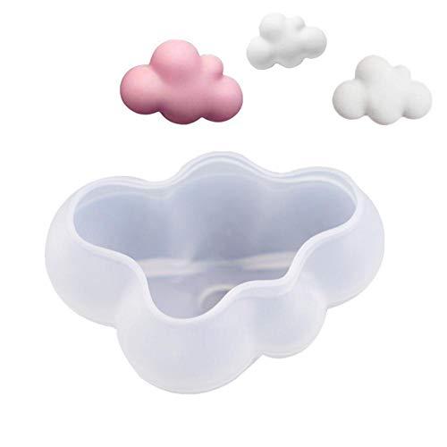 Molde de silicona 3D Cloud para fondant, chocolate, caramelo, jabón - Molde de bricolaje con forma de nube pudín Moldes de resina epoxi de cristal Herramienta de decoración de pasteles para hornear