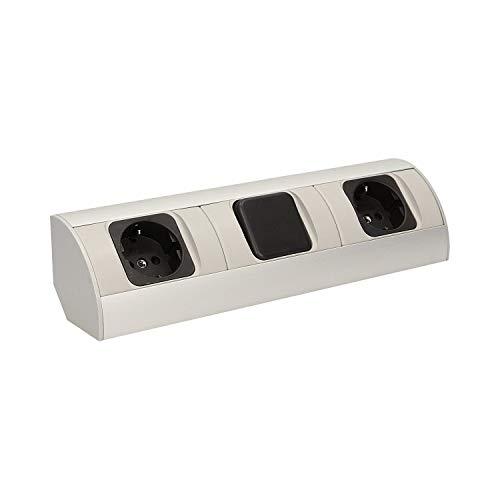 Práctico enchufe de esquina 2 x Schuko con interruptor (fuente de luz) para cocina, baño, salón o muebles. Enchufe doble ideal para encimera de cocina como enchufe de montaje bajo construcción.