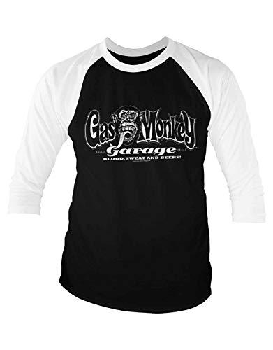 Baseball-T-Shirt Gas Monkey Garage, offizielles weißes Logo, 3/4 Ärmel Gr. S, Weiß-Schwarz