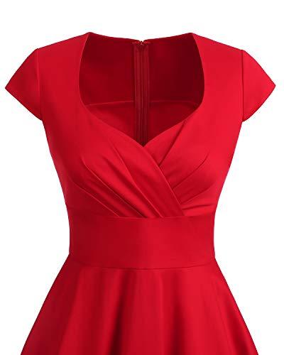 Bbonlinedress Vestido Corto Mujer Retro Años 50 Vintage Escote En Pico Red M