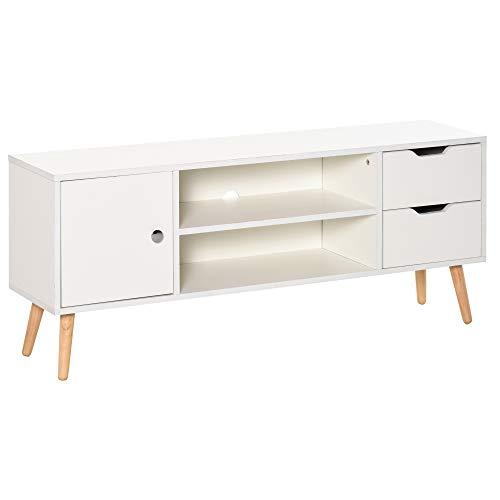 HOMCOM Meuble TV Banc TV Style scandinave Placard 2 niches 2 tiroirs Passe-Fils Panneaux Particules Blanc Bois pin
