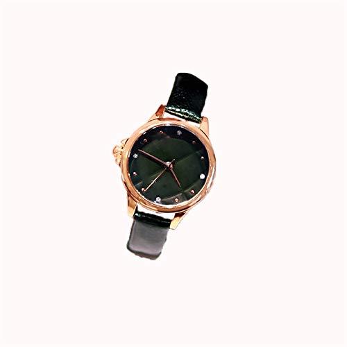 QHG Reloj de Pulsera de Cuero de la Moda de Las Mujeres Forma Hembra de Oro Rosa Forma pequeña Dial, Correa Una Variedad de Colores Opcional (Color : Green)