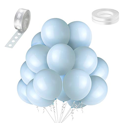 Jannius Pastel Blue Balloons Party Balloons 12 Inches 100 PCS Blue Balloons Latex Balloons Birthday Balloons for Party