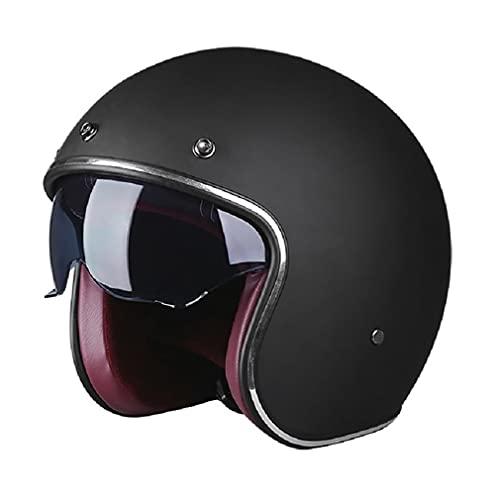 Halbschalenhelm Mit ECE Vintage Jet-Helm Motorrad-Helm Roller-Helm Scooter-Helm Moped Mofa-Helm Chopper Retro Vespa Vintage Pilot Biker Helmet ECE-Zertifiziert Mit Visier Offenem Gesicht Helm Unisex