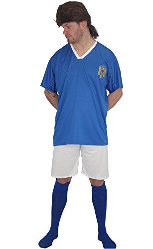 Adultos Italia Ftbol icono Roberto Baggio Kit Fancy Dress & Wig[S/M]