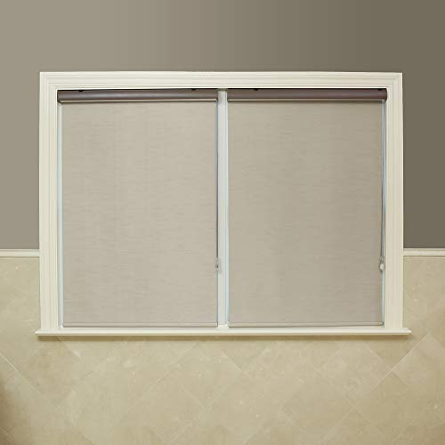 """Best Home Fashion Closeout Ivory Premium Blackout Single Silk Roller Window Shade - 25"""" Wide"""