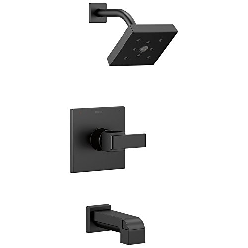 DELTA Ara 14 Series Single-Function Tub and Shower Trim Kit with Single-Spray H2Okinetic Shower Head, Matte Black T14467-BL (Valve Not Included)