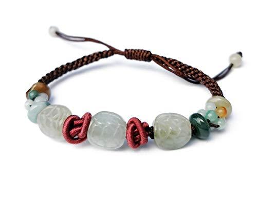Agathe Creation JBA310801 - Pulsera de jade tallado (carapapapapaz de tortuga, piedras naturales de jade (categoría A)