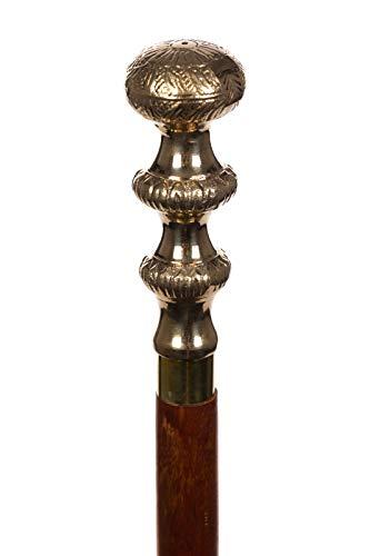 Eleganter Gehstock Holz mit Messinggriff Spazierstock Gehhilfe 100cm Stock zerlegbar in 3 Teile ideal zum verreisen (22019 Kugel)