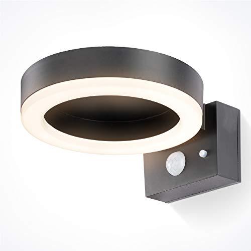 Solar LED Sensor Wandleuchte Diana - Lichtfarbe 4000K neutralweiß - max. 600 lm Lichtstrom - Leuchtdauer max. 9 h - Abmessungen 20 x 16 cm - Solarleuchte Wandstrahler Bewegungsmelder esotec 102598