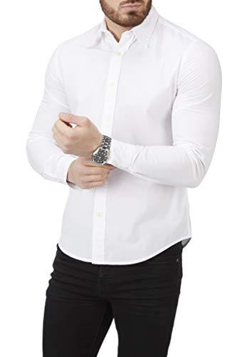 Charles Wilson Camicia da Uomo a Manica Lunga con Tessuto Popeline a Tinta Unita (XX-Large, White)
