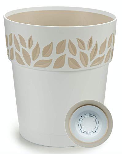 TIENDA EURASIA® Maceta de Plástico - Diseño Moderno Hojas - 3 en 1- Maceta + Bandeja Interior + Plato Maceta (Blanco, 25 cm)