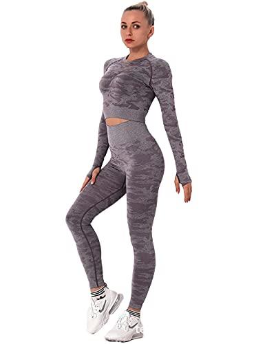 qqff Leggings Mallas Mujer Compresión Elástico,Traje de Gimnasia de Dos Piezas para Mujer,Tiro con Arco Sportswear-Lilac_S,Sin Costuras Push Pantalones Largos