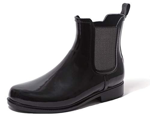 Zapato Chelsea Damen Regenstiefelette Gummistiefelette Ankle Rain Boot SCHWARZ Stretch mit edlem Fischgrät Design Gr. 37-41 (37 EU)