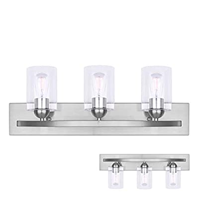 3 Globe Interior Vanity Bath Light Bar with Bulbs Industrial Clear Glass, Matte Black
