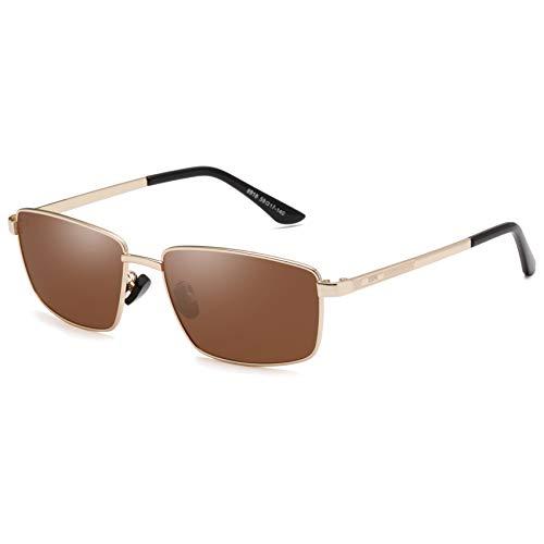 Óculos de sol masculinos polarizados LEIMI para dirigir, retangular, esportivo, corrida, pesca, para mulheres, proteção UV400, 13-golden Frame / Brown Lens