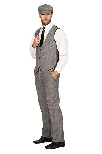 WILBERS & WILBERS 20er Jahre Peaky Blinders Anzug Schwarz-Weiß Lange Hose Weste Mütze Schiebermütze The Roaring Twenties 20's, Größe:48