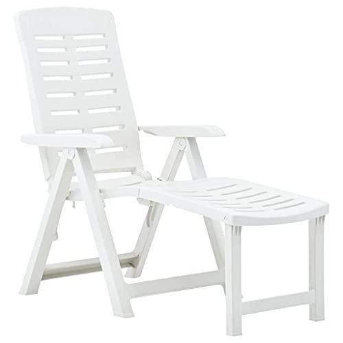 vidaXL Lettino Prendisole Pieghevole Regolabile con Braccioli Leggero Robusto Giardino Spiaggia Sedia a Sdraio Chaise Longue in Plastica Bianco