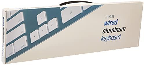 Matias FK318S Aluminum Wired USB Tastatur/Keyboard für Apple Mac OS | QWERTY| US | mit reaktionsschnellen Flache Tasten und Zusätzlichem Ziffernblock - Silber/Weiß