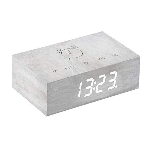 Gingko Flip Click Clock LED-Weckertallon aktiviert mit Neuer Flip-Technologie, wiederaufladbar mit Laser-gravierten Touch-Steuerungen, Verschiedene Holzveredelungen (White Birch)