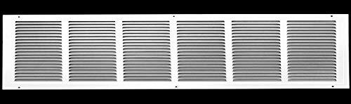 Rejillas de aire de retorno de acero de 30 pulgadas de ancho x 6 pulgadas de alto. Pared lateral y techo. Cubierta de conductos de climatización. Color blanco. Dimensiones exteriores: 31.75 pulgadas de ancho x 7.75 pulgadas de alto.